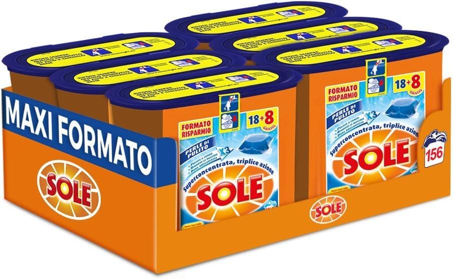 Sol Detergente Lavadora de monodosi, 156 Cápsulas, Paquete con 6 ...
