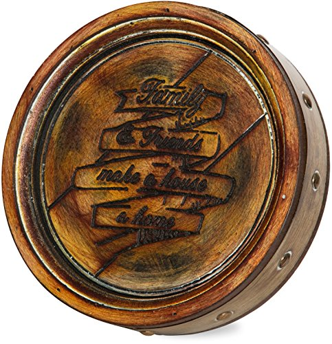 Brown Accent Barrel - Pavilion Gift Company 22074 Family and Friends Wine Barrel Plaque, 8-Inch