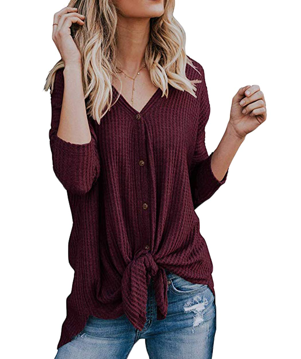 Eanklosco Tie Knot Tops Womens Waffle Knit V Neck Blouse Button Down Long Sleeve Henley Shirt(Dark Red, M)