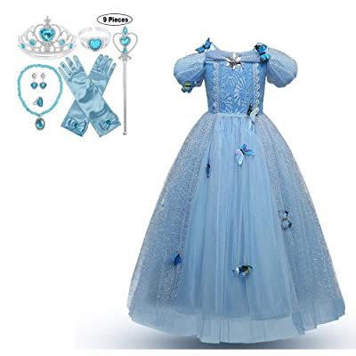 JJAIR Girls Princess Costume, Puff Sleeve Long and Shaort Sleeve Fancy Birthday Party Dress Up with Accessory for 3-10 Years,Short Sleeve,110: Home & Kitchen