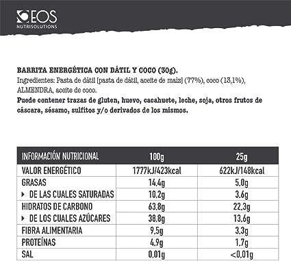 EOS - Barritas de Dátil y Coco 16 uds x 30 g - Sin gluten ...