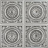 Grandma's Doilies Quartet-Faux Tin Ceiling Tile - Antique Silver 25-Pack