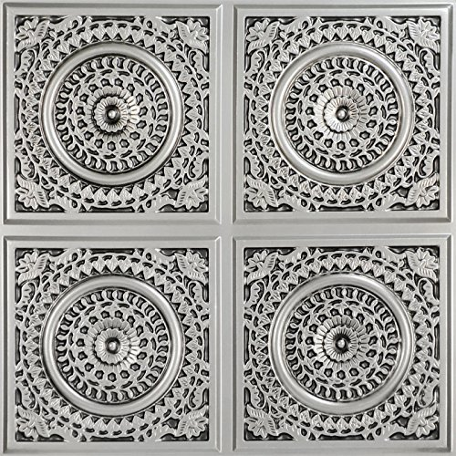 Grandma's Doilies Quartet-Faux Tin Ceiling Tile - Antique Silver 25-Pack