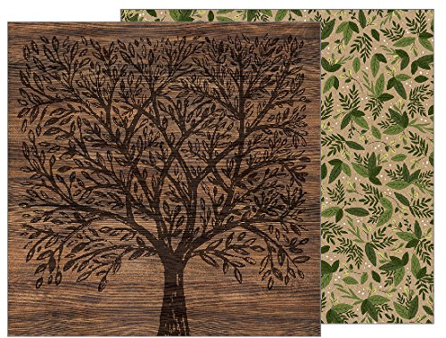 American Crafts Jen Hadfield Heart of Home 25 Pack of 12x12 Inch Paper Forest Botanical, Piece