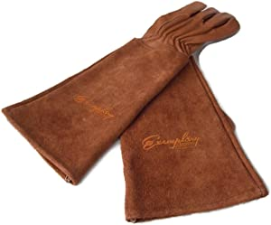 Rose Pruning Gloves for Men and Women. Thorn Proof Goatskin Leather Gardening Gloves with Long Cowhide Gauntlet to Protect Your Arms Until the Elbow (Extra Large, Brown)
