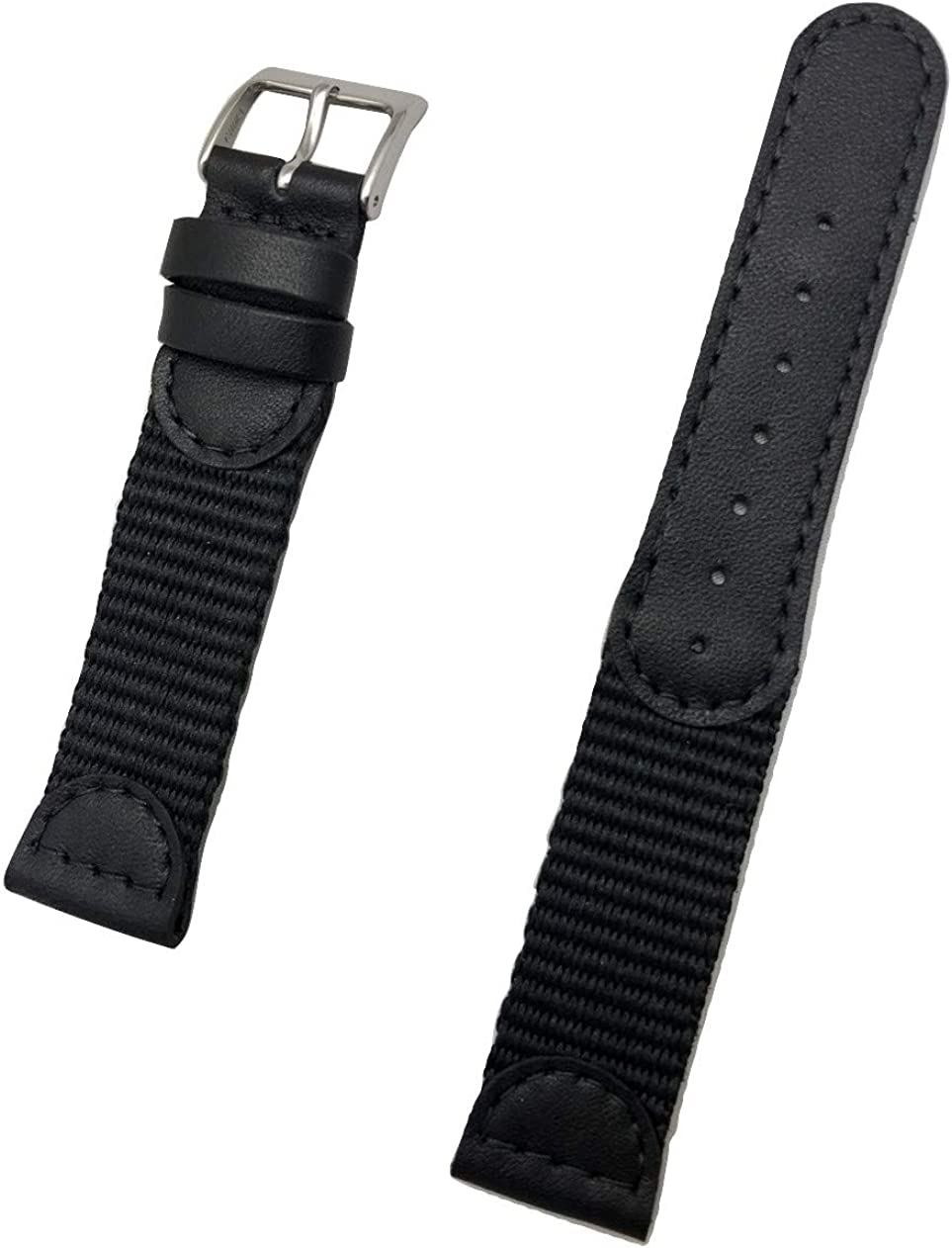 19mm Black Genuine Leather and Nylon Watch Band   Swiss Army style, Soft Replacement Wrist Strap that brings New Life to Any Watch (Mens Length)