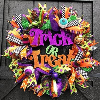 Deluxe Halloween Trick or Treat Front Door Wreath