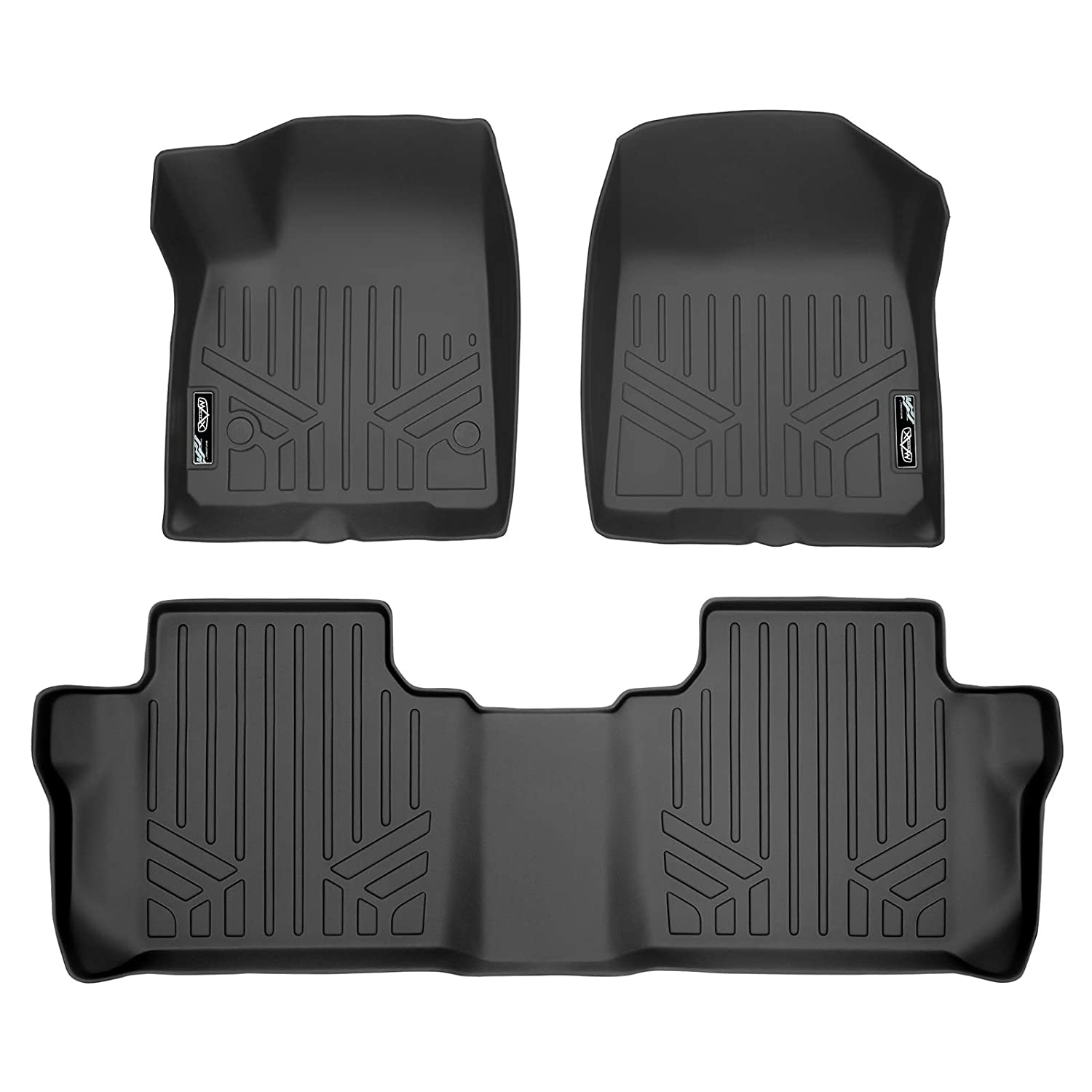 SMARTLINER Custom Fit Floor Mats 2 Row Liner Set Black for 2020 Cadillac XT6 with 2nd Row Bench Seat