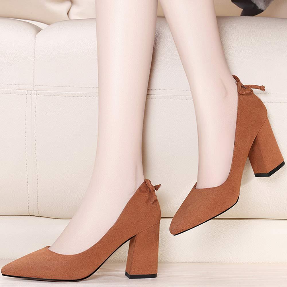 Btrada Women's Elegant Toe Pointed Toe Elegant Low-Cut Pumps Comfortable Block Heels Slip On Formal Dress Shoes B07GYL74FW Western 3a7442