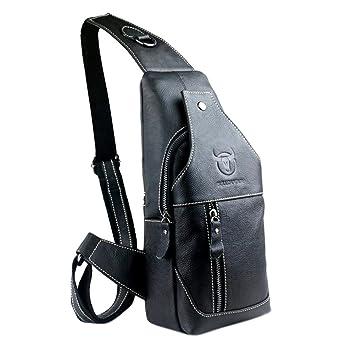 66a2614bf5 ThinkMax Mens Genuine Leather Sling Bag Single Shoulder Bag Men Chest  Crossbody Satchel Waist Pack Black