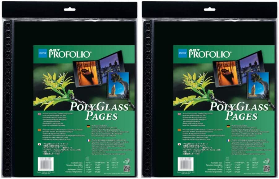 2 Pack Itoya Art ProFolio Portrait Polyglass Pages 14 x 17
