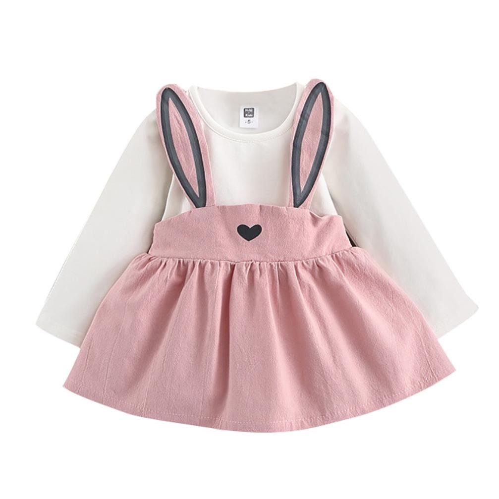 100, Pink ZLOLIA Baby Clothes Set Autumn Winter Toddler Girl Cute Rabbit Bandage Skirt Suit Long Sleeve Mini Dress for 0-3 Year Kids