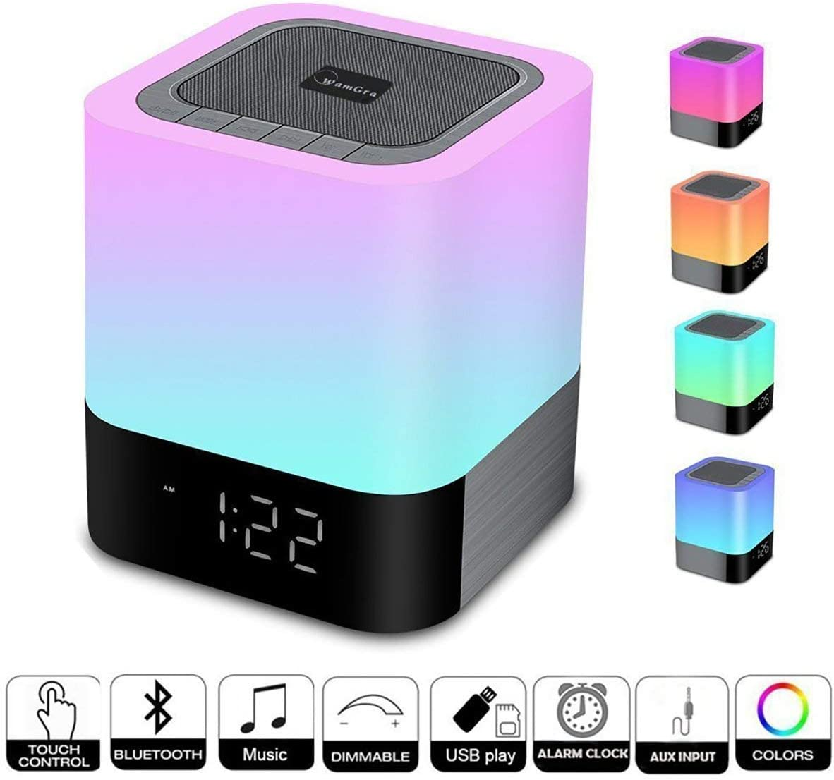 WamGra Night light Bluetooth Speaker,Alarm Clock Bluetooth Speaker Touch Control 48 Led Changing Color Bedside lamp,MP3 Player