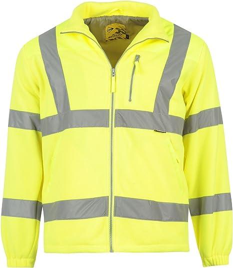 shelikes Hi Vis Viz Visibility Two Tone Zipped Zip Softsheel Light Weight Fleece Zip Jacket Size