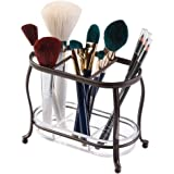 mDesign Traditional Cosmetics and Makeup Brush Holder for Bathroom Vanity Countertops - Bronze/Clear