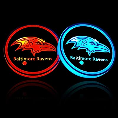 wesport NFL-American Football Collection - 2PCS LED Cup Holder Mat Pad Coaster with USB Rechargeable Interior Decoration Light (Baltimore Ravens): Automotive