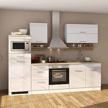 Pharao24 Komplett Küche Mit E Geräten Weiß Hochglanz Eiche Sonoma