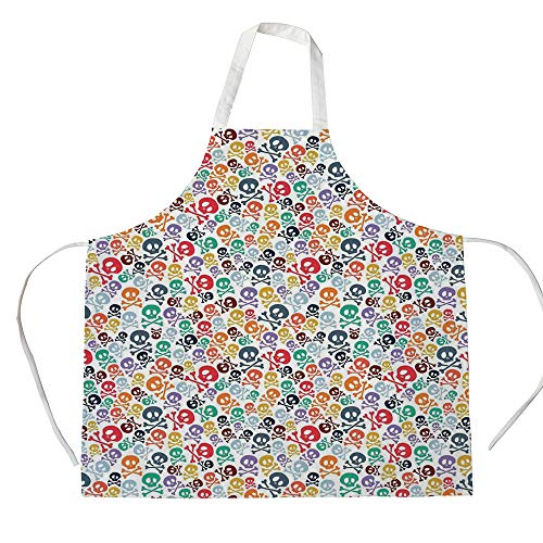 Skulls Decorations 3D Printed Cotton Linen Apron,Halloween Theme Colorful Skulls and Crossbones,for Cooking Baking Gardening,]()