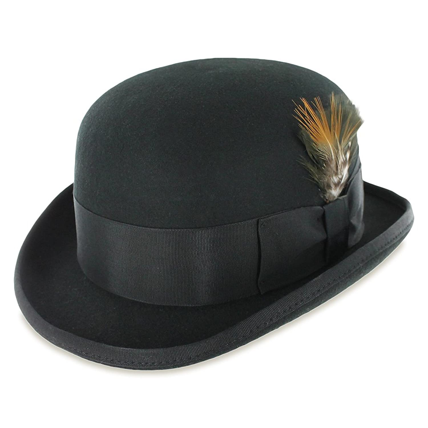 Wool Felt Derby Bowler Hat in Black or Gray