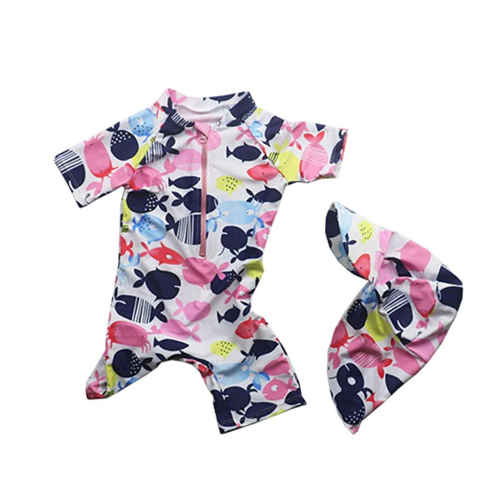 TAIYCYXGAN Baby Toddler Girls Boys Short Sleeve Swimsuit One Piece Bathing Suit Rash Guards Swimwear Sunsuit with Hat UPF50+