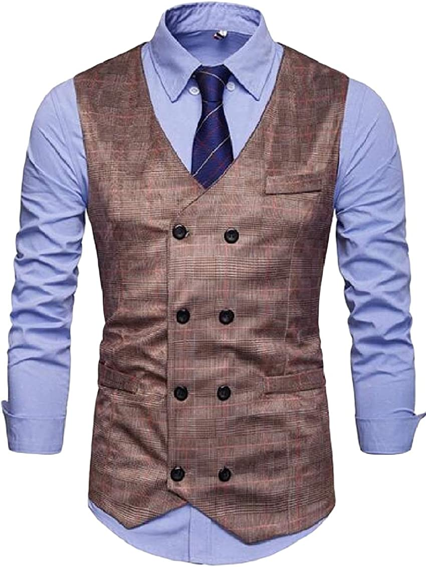 Sweatwater Men Coat Casual Plaid Sleeveless Double Breasted Vest