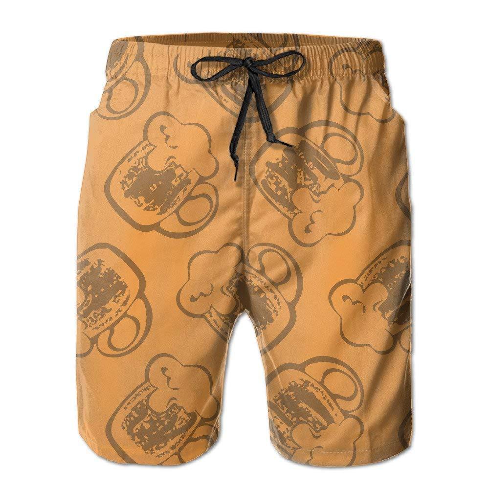 BBggyh Men's Beer Mugs Pattern Board Shorts Swim Trunks