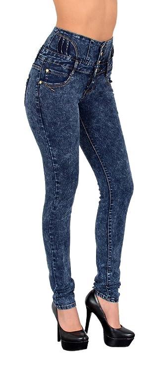 ESRA Damen Jeans Hose Skinny Röhrenjeans High Waist Jeanshose Hochbund in vielen Farben # J22