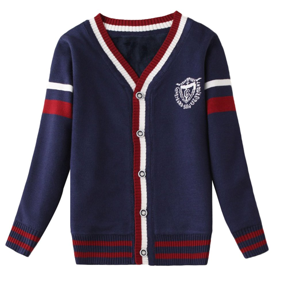 Mallimoda Boys Long Sleeve V-Neck Button Cardigan Knit Sweater Coat Navy 5-6 Years