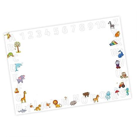 Kinder Schreibtischunterlage Alphabet + Zahlen - 25 Blatt Papier zum abreißen, A2 Malunterlage - Geschenk zum Schuleintritt S