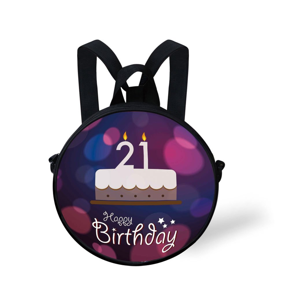 IPrint Toddler Preschool Backpack21st Birthday DecorationsHappy Quote With Stars On Abstract Pink Toned ImageEggplant Purplefor Little Boys