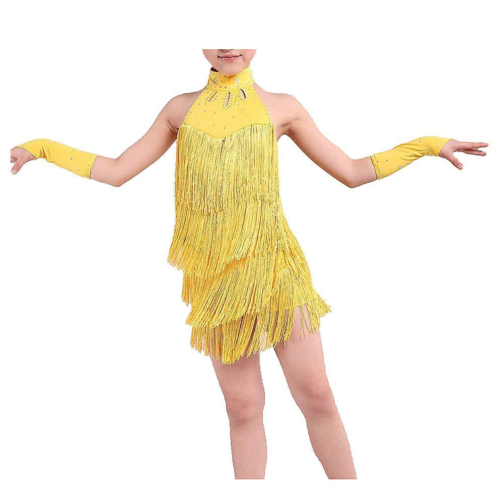 SODIAL(R) Latin Dance Dress Girls 120cm Latin Fringe Dress Ballroom Dance Costume Dancing Clothing yellow 044921B3
