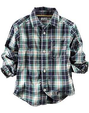Carter's Boy's Blue Plaid Button Front Shirt (3 Months)