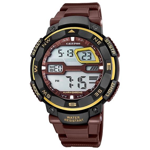 Calypso hombre-reloj SPORT PU-pulsera Marrón digital cuarzo-reloj esfera marrón negro UK5672/8: Calypso: Amazon.es: Relojes
