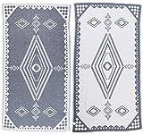 Bersuse 100% Cotton Bahamas Dual-Layer Handloom Turkish Towel - 37X70 inches, Dark Blue