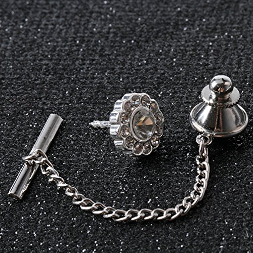 Digabi Men's Jewelry Flower 10mm Tie Tack With Chains and Clutch Back Glittering Rhinestone and Clear Crystal Tie Clip Button Color Options by Digabi (Image #5)