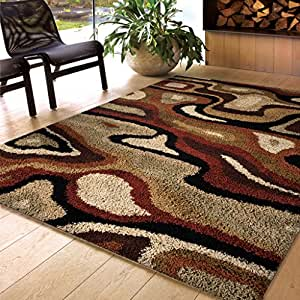 Amazon Com Orian Rugs Shag Abstract Transform Leather
