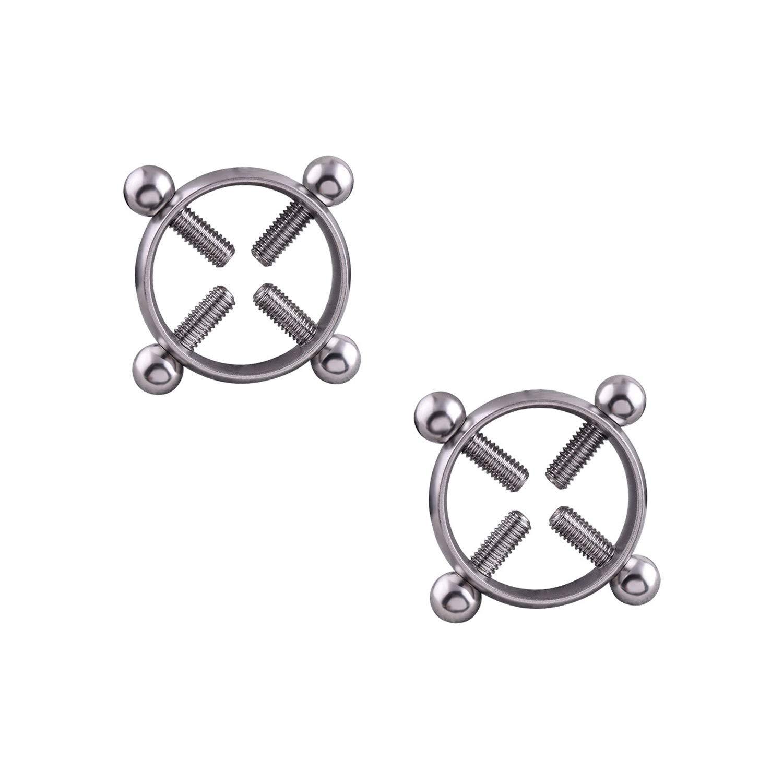 JDXN Women's 1 Pair Nipple Rings Shields Screw No Piercing Fake Nipple Ring Shields Adjustable Jewelry Ltd