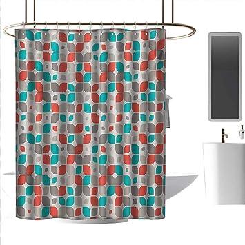Amazon.com: Cortinas de ducha geométricas borgoñas ...