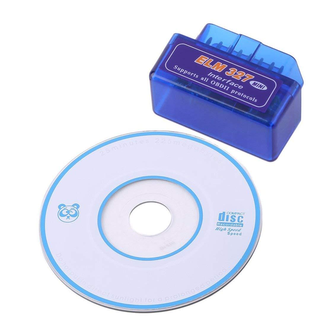 Mini Portá til ELM327 V2.1 OBD2 II Bluetooth Diagnó stico del Coche Escá ner de Interfaz Automá tica Azul Premium ABS Herramienta de Diagnó stico Laurelmartina