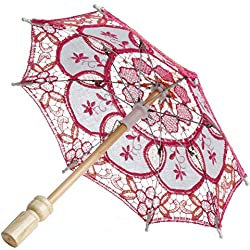 MEXUD Lace Embroidered Parasol Umbrella For Bridal Wedding Party Decoration (Hot Pink)