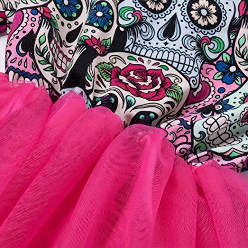 BYSTE principessa Bambina Abito Abito di cerimonia Festa da Abiti matrimonio formale da Caldo Vestito pizzo Abito Rosa Vestito Halloween soffietto Ragazze Gonna a tutu ricamo frwf5H