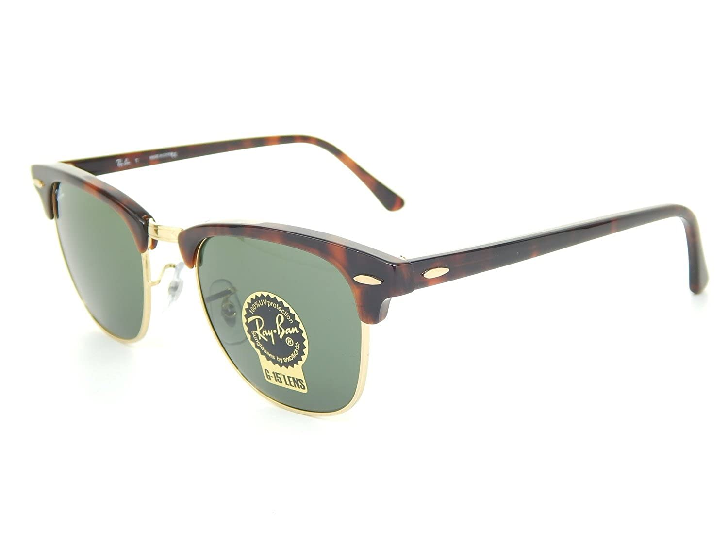 1094be90d23 Ray-Ban RB 3016 W0366 Clubmaster Mock Tortoise   Green Crystal Lens Frame  Size  51mm  Amazon.co.uk  Shoes   Bags