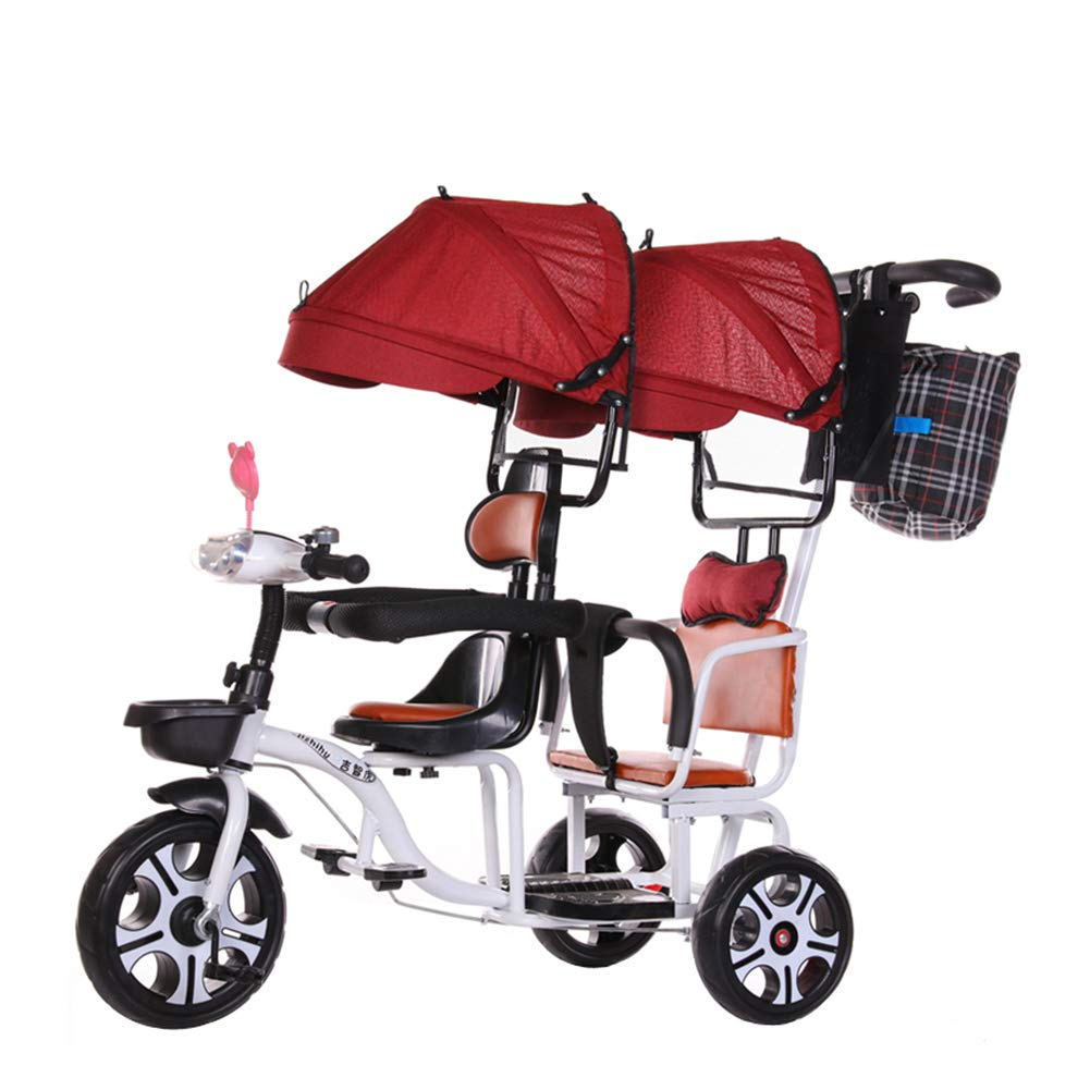 Baby Stroller - 95cm 100cm 60cm, Double Children's Pedal Tricycle Stroller Twin Car