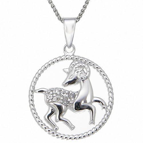 Pick Your Zodiac Month Sterling Silver Zodiac Pendant 1 8 cttw Diamond Necklace