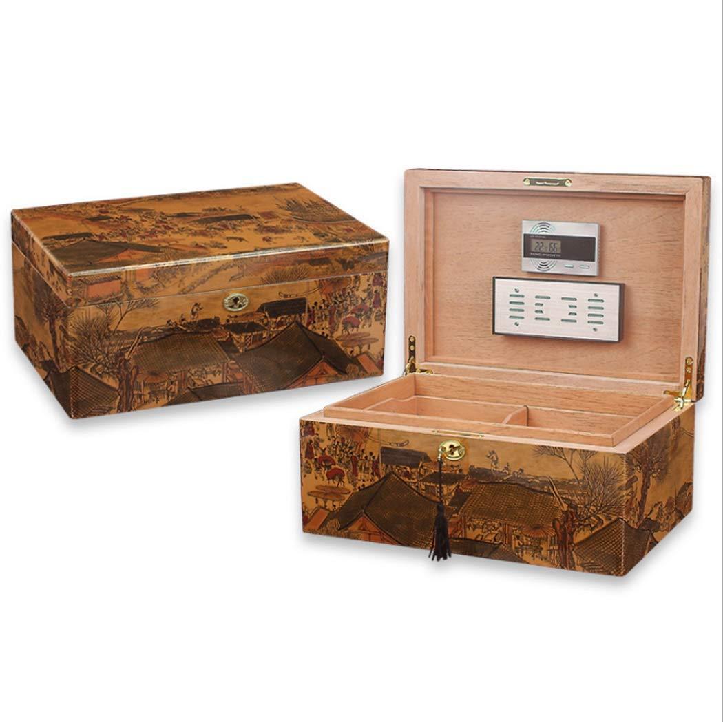 LHFJ Cigar Humidificador Delute Cigar Box Cedro Estufa de Madera Tratamiento de Barniz Cigar Organizer con higrómetro electrónico Humidificador: Amazon.es: ...