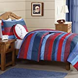 2 Piece Kids Boys Navy Blue Red Stripes Comforter Twin Set, Horizontal Rugby Striped Bedding Sports Themed Team Colors, Nautical Teen Solid Colorful Pattern Checked Polyester Dorm College