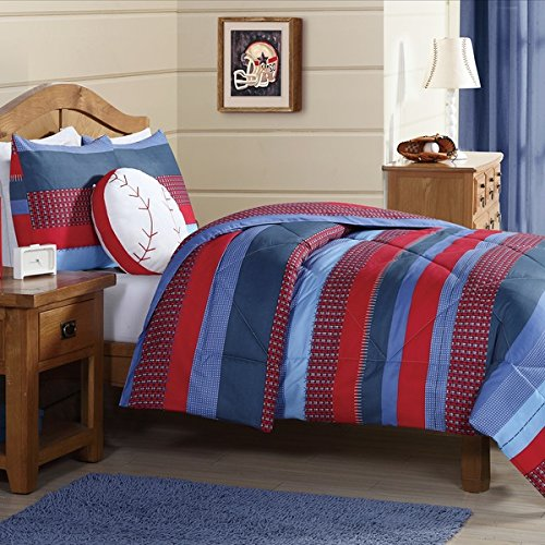 3 Piece Kids Boys Navy Blue Red Stripes Comforter Full Queen Set, Horizontal Rugby Striped Bedding Sports Themed Team Colors, Nautical Teen Solid Colorful Pattern Checked Polyester Dorm College