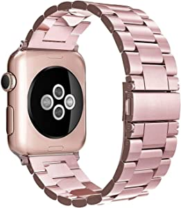 Simpeak Band Compatible with Apple Watch 42mm 44mm Series 6 SE 5 4 3 2 1, Women Men Solid Stainless Steel Business Band Strap Replacement for iWatch 42 44, Rose Gold