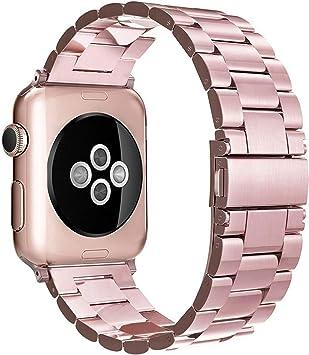 Simpeak Correa Compatible con Apple Watch 6/SE/5/4/3/2/1 Correa 42mm de Acero Inoxidable Reemplazo de Banda de la Muñeca Compatible con iWatch Todos los Modelos 42mm, Oro Rosa: Amazon.es: Electrónica