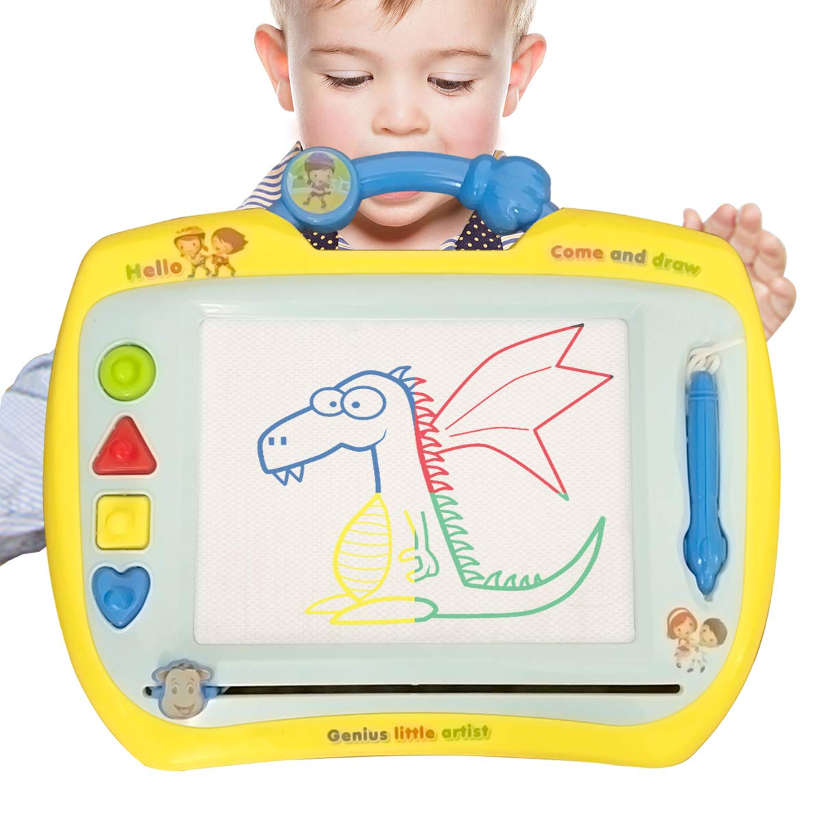 DIONRS Large Magnetic Drawing Board for Kids and Toddlers Erasable Perfect Size for Travel or Home with Bonus Magic Water Mat 4 Colors 13 x 16 Inches Convenient Handle and Pen Attached